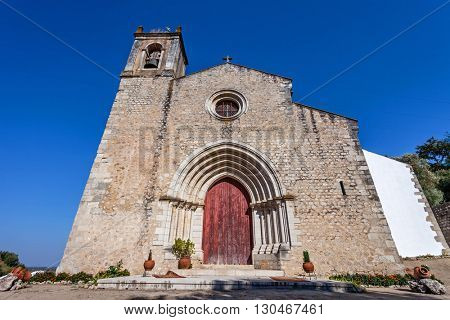 The medieval church of Santa Cruz with a Gothic portal. 13th century Gothic Architecture. Santarem, Portugal.