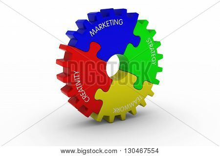 Marketing + Creativity + Strategy + Teamwork Multicoloured Jigsaw Puzzle Cog Wheel - 3D Illustration