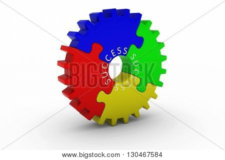 SUCCESS Multicoloured Jigsaw Puzzle Cog Wheel on White Background - 3D Illustration