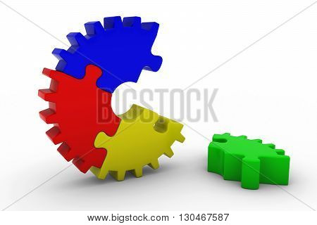 Multicoloured Jigsaw Puzzle Cog Wheel with Piece on Floor - 3D Illustration