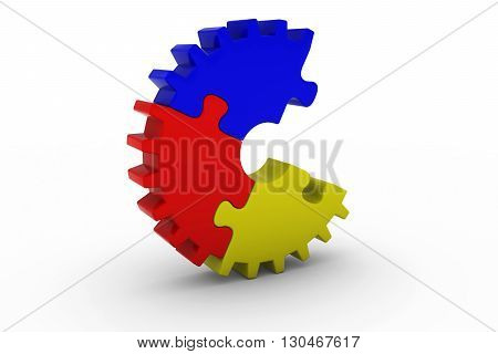 Multicoloured Jigsaw Puzzle Cog Wheel With Missing Piece - 3D Illustration
