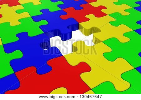 Multicoloured Jigsaw Puzzle with Missing Piece - 3D Illustration
