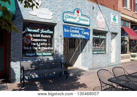 PLAINFIELD, ILLINOIS / UNITED STATES - SEPTEMBER 20, 2015: One may eat ice cream, sandwiches, and candy at the Gourmet Junction in downtown Plainfield.