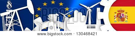 Energy and Power icons set. Header banner with Spain flag. Sustainable energy generation and heavy industry.European Union flag backdrop. 3D rendering