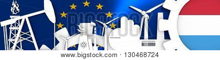 Energy and Power icons set. Header banner with Luxembuorg flag. Sustainable energy generation and heavy industry.European Union flag backdrop. 3D rendering