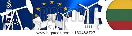 Energy and Power icons set. Header banner with Lithuania flag. Sustainable energy generation and heavy industry.European Union flag backdrop. 3D rendering