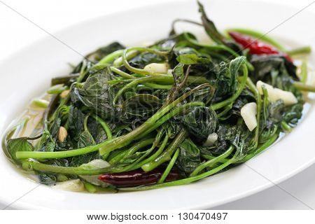 stir fried sweet potato leaves with garlic, chinese taiwanese cuisine