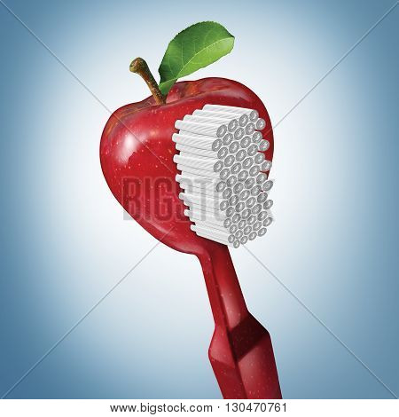 Toothbrush health and brushing as dental oral care with a tooth brush shaped as a red apple as a teeth cleaning symbol with 3D illustration elements.