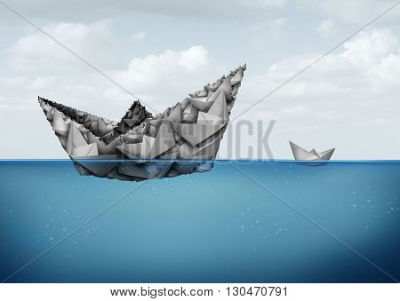 Management and organization financial and business concept as a group of paper boats joining together to create a large size powerfiul entity to better compete and succeed in a 3D illustration style.