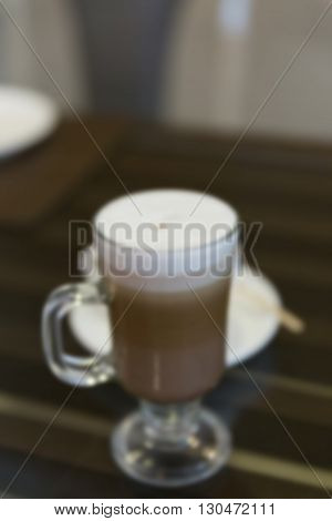 Cup Of Hot Cappuccino Coffee, Blur Background