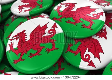 Pile Of Welsh Flag Badges - Flag Of Wales Buttons Piled On Top Of Each Other - 3D Illustration