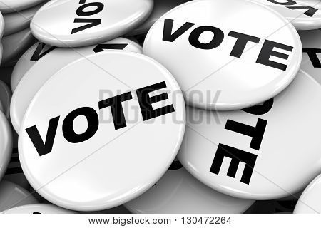 Pile of White Vote Badges - Election Concept