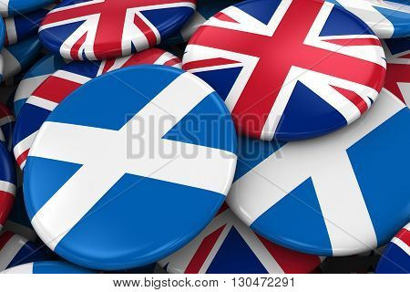 Flag Badges Of Scotland And Uk In Pile - Concept Image For Scottish And British Relations - 3D Illus