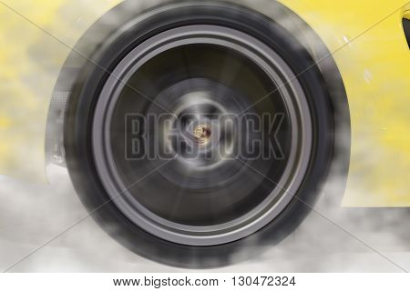 Drifting Wheel Of New Yellow Sport Car