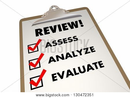 Review Clipboard Checklist Evaluation Words 3d Illustration