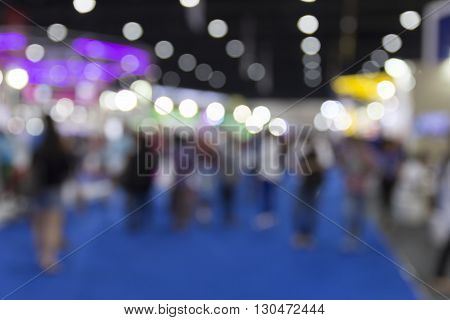 People In Exhibition Hall Building, Blur Background