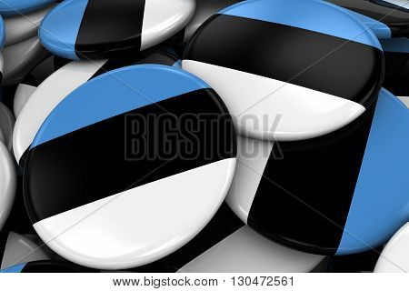 Pile Of Estonian Flag Badges - Flag Of Estonia Buttons Piled On Top Of Each Other - 3D Illustration