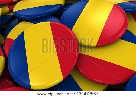 Pile Of Romanian Flag Badges - Flag Of Romania Buttons Piled On Top Of Each Other - 3D Illustration