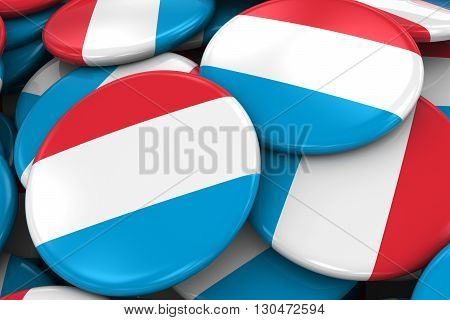 Pile Of Luxembourgian Flag Badges - Flag Of Luxembourg Buttons Piled On Top Of Each Other - 3D Illus