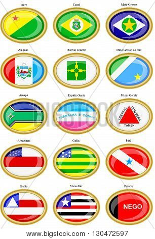 Set of icons. Flags of the Brazilian states.