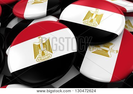 Pile Of Egyptian Flag Badges - Flag Of Egypt Buttons Piled On Top Of Each Other - 3D Illustration