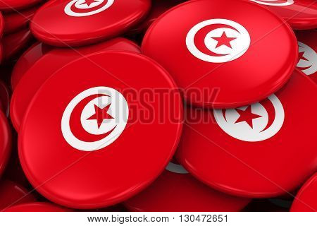 Pile Of Tunisian Flag Badges - Flag Of Tunisia Buttons Piled On Top Of Each Other - 3D Illustration