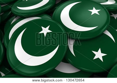 Pile Of Pakistani Flag Badges - Flag Of Pakistan Buttons Piled On Top Of Each Other - 3D Illustratio