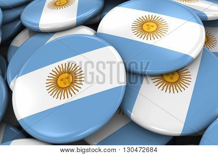Pile Of Argentinian Flag Badges - Flag Of Argentina Buttons Piled On Top Of Each Other - 3D Illustra