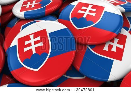 Pile Of Slovakian Flag Badges - Flag Of Slovakia Buttons Piled On Top Of Each Other - 3D Illustratio