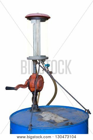 Old blue gasoline tank with hand pump isolated on white background with clipping path