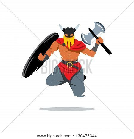 Barbarian Warrior jumping with a shield and waving an ax. Isolated on a white background