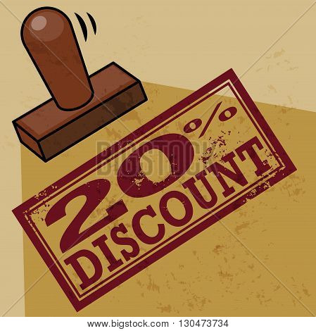 Abstract stamp 20 percent Discount, vector illustration