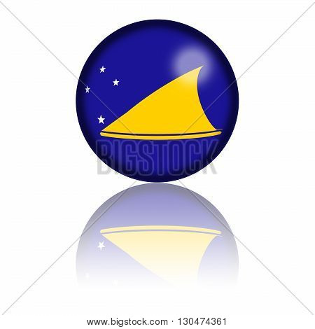 Sphere of Tokelau flag with reflection at bottom, 3D rendering