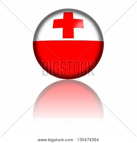 Sphere of Tonga flag with reflection at bottom, 3D rendering