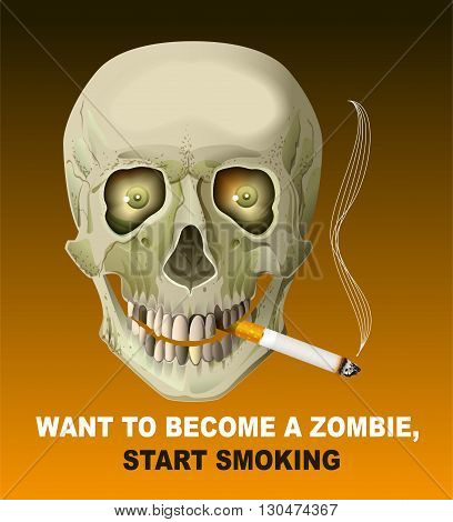 Human skull smoking cigarette. Harm of smoking. Illustration in vector format