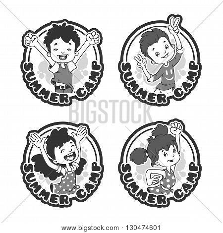 Set of four stickers with happy kids. Logo template for summer camp in black and white style. Vector cartoon illustration isolated on a white background.