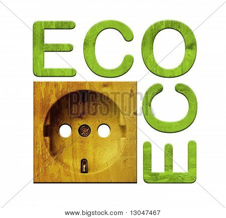 Isolated socket with wooden eco texture