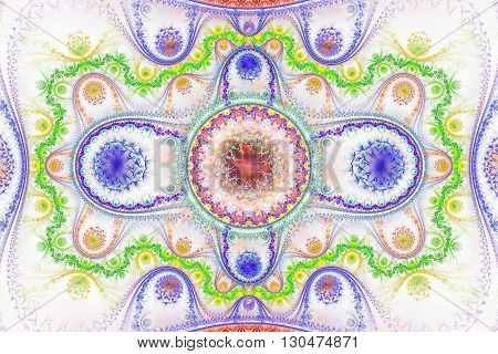 Abstract fantasy ornament on white background. Fantasy fractal design in deep blue green yellow and rose colors.