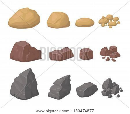 Rocks And Stones Set Illustration various cartoon styled rocks minerals