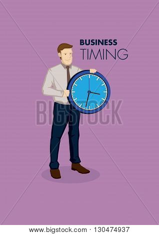 Cartoon businessman holding a clock with text business and timing. Vector illustration on time concept in business context isolated on purple background.
