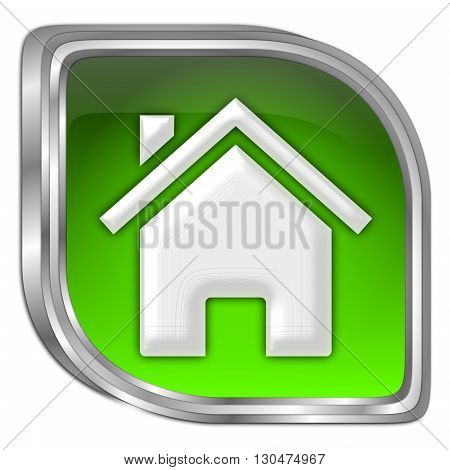 glossy green Home Button - 3D illustration