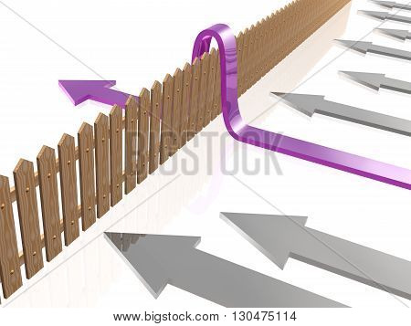 Violet and gray arrows and fence on white reflective background, 3D illustration.