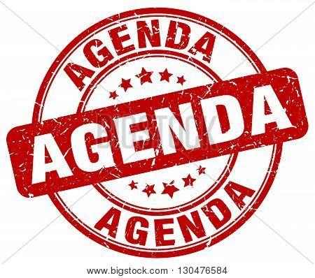 agenda red grunge round vintage rubber stamp