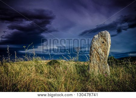 Field with stone monolith in tarazona Spain
