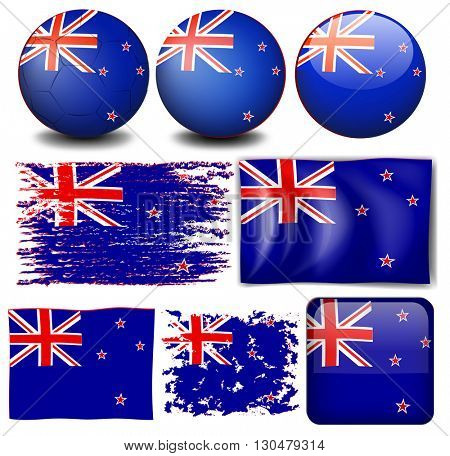 New Zealand flag in different designs illustration