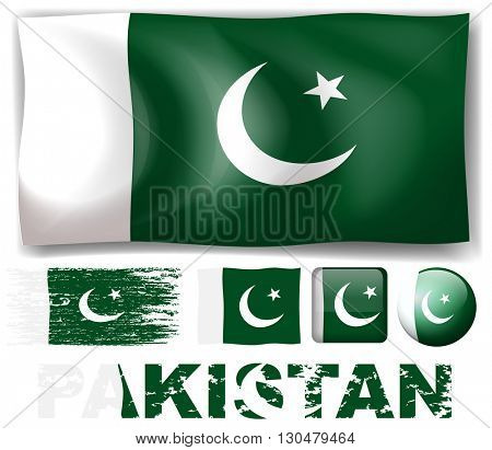 Pakistan flag in different designs illustration