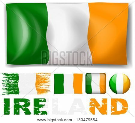 Ireland flag in different designs illustration