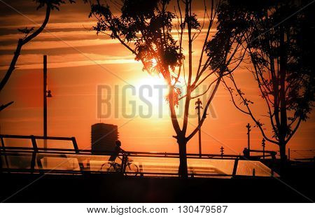 Sunset at Riverside in Zaragoza Expo, Spain