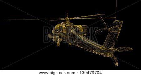 3D render of futuristic view of military helicopter
