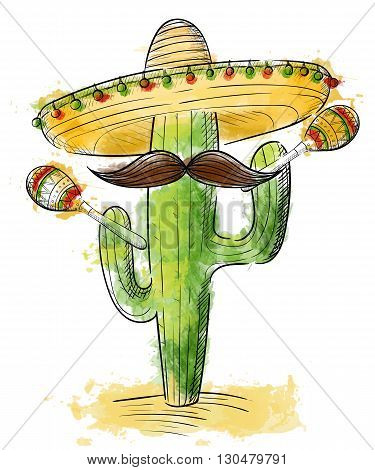 cinco de mayo Sombrero maracas and jalapeno mexico set.